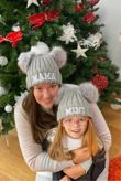 Mama and Mini Faux Fur Double Pom Pom Beanie