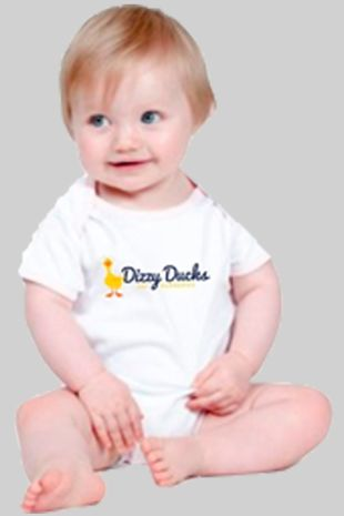 Dizzy Ducks - Baby Vest Suit White
