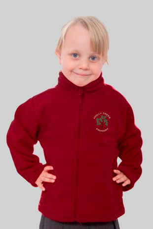 Holly Trees Primary - Fleece Burgundy