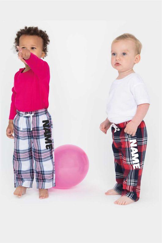 Personalised Tartan Babies Pyjama Bottoms