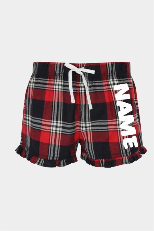 Personalised Tartan Ladies Frill Pyjama Shorts