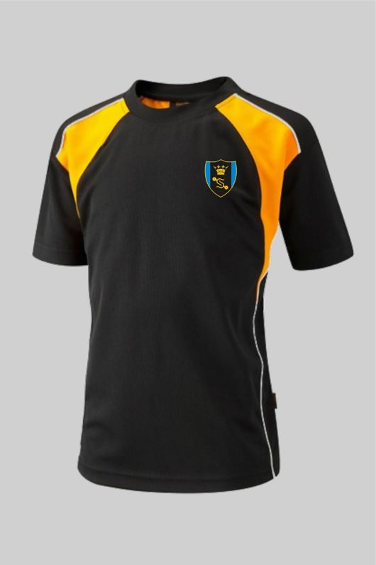 Shenfield High School *NEW YEAR 7 2020* - P.E Top Black/Amber